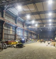 Teesside Marine MRO Supplier chooses Intelligent LED lighting for Fabrication Shed and saves 78% over 400W HID